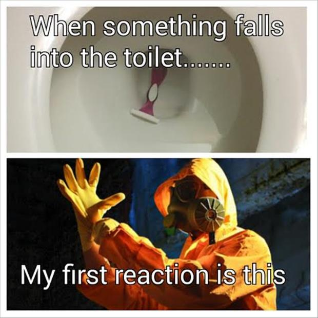 when something falls into the toilet