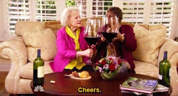 wine testing with betty white