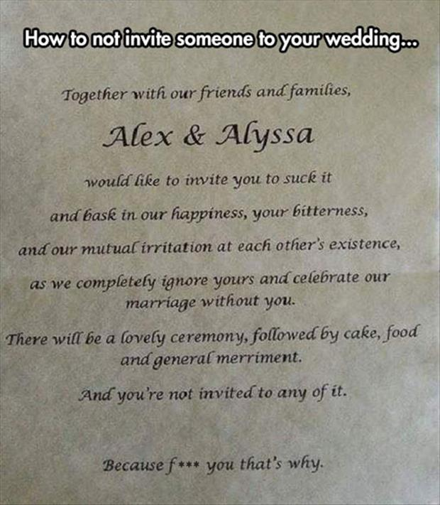 how not to invite someone to your wedding