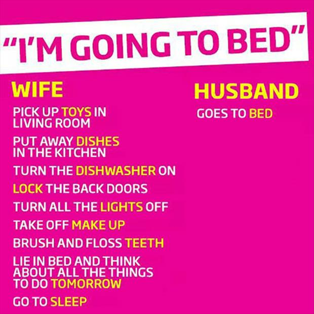 men vs women going to bed