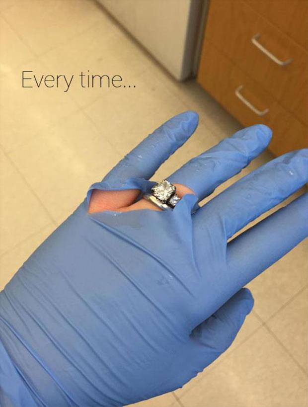 Nurse Wearing Engagement Ring