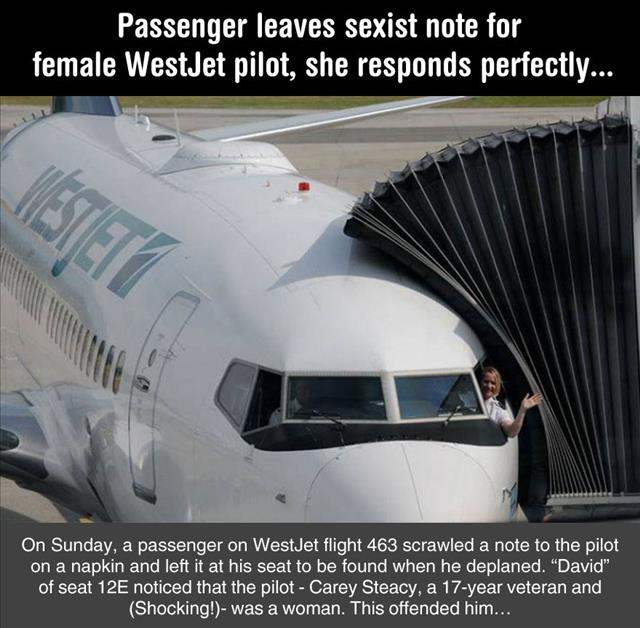 Man Leaves A Note For A Female Pilot Telling Her That Women