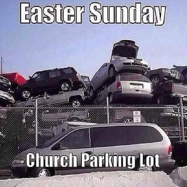 Easter Sunday Church parking lot