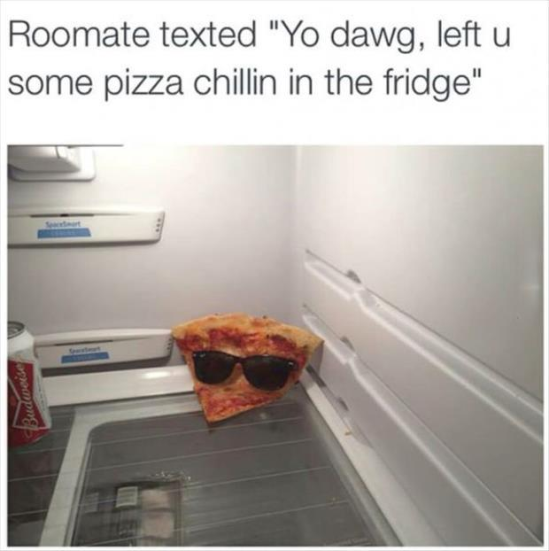 pizza in the fridge