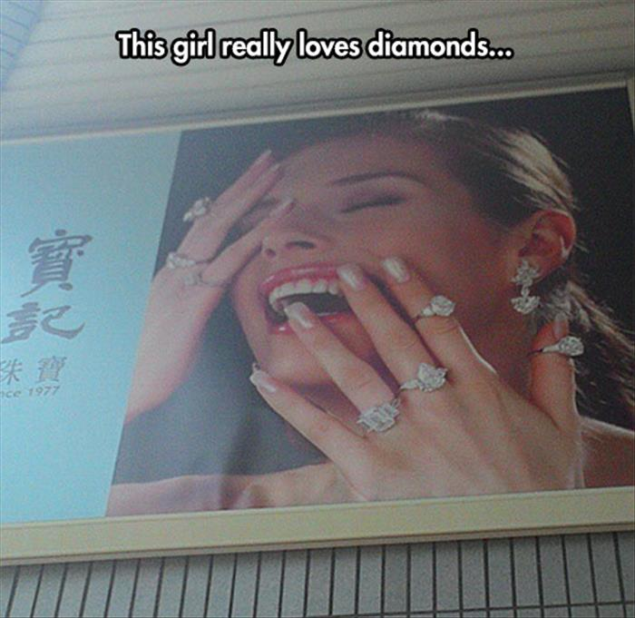 she really likes her diamonds
