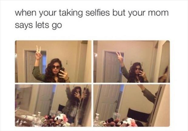 taking selfies