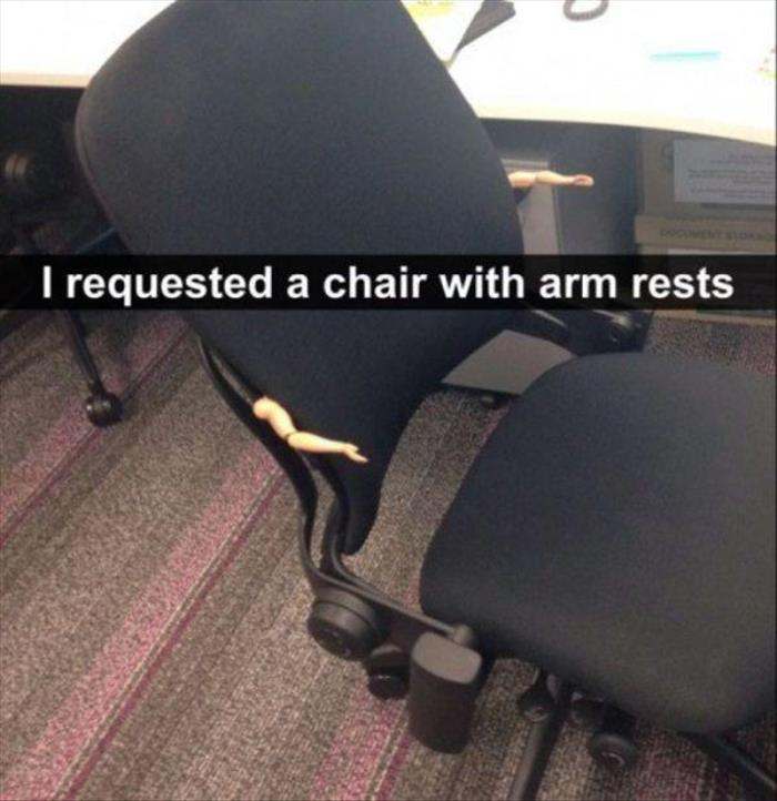 the chair with arm rests