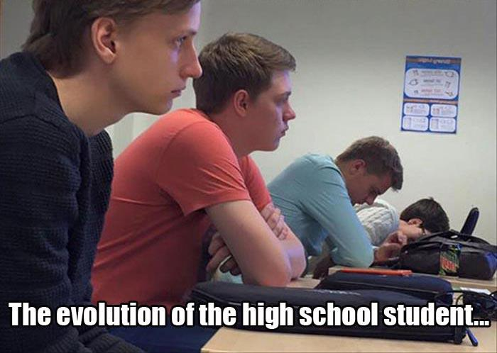 the evolution of the high school student in one picture