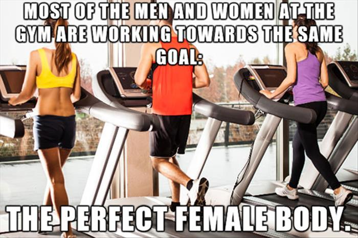 men and women at the gym