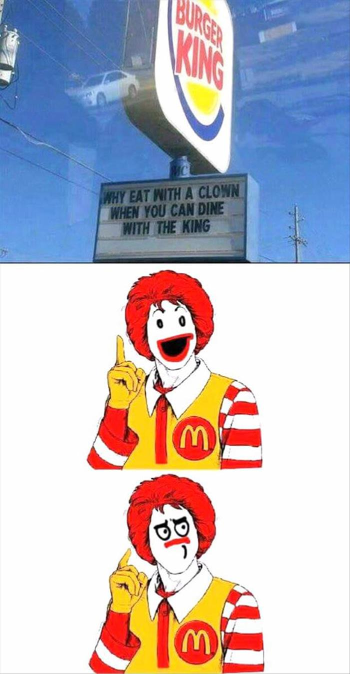 why eat with a clown