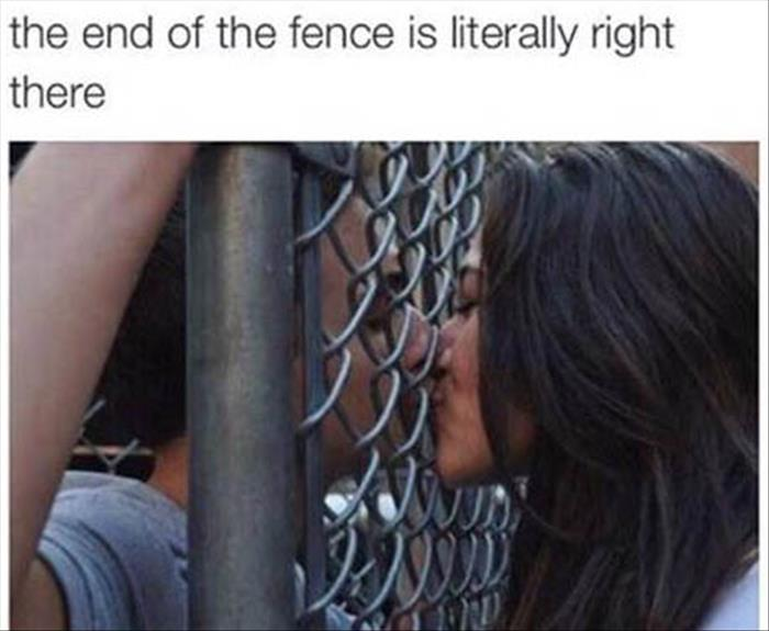 the end to the fence kissing