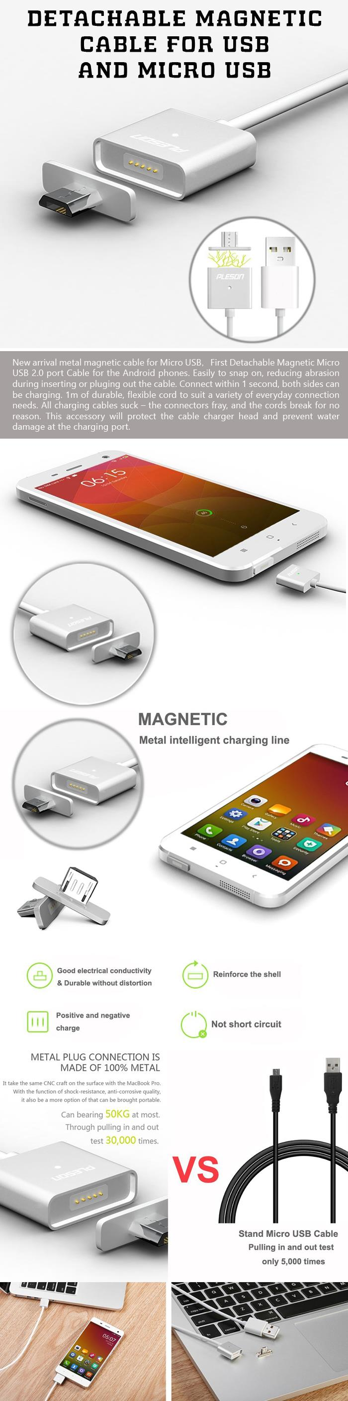 Detachable Magnetic Cable for USB and Micro USB