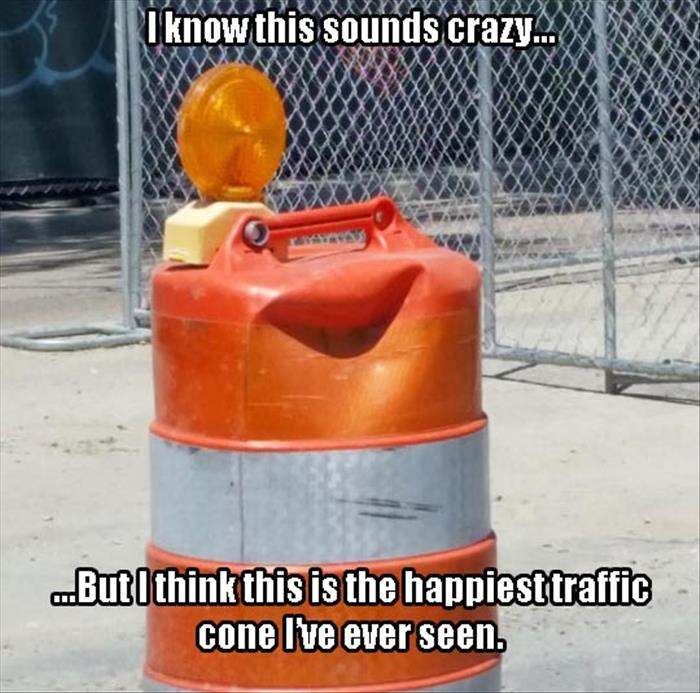 happy little traffic cone
