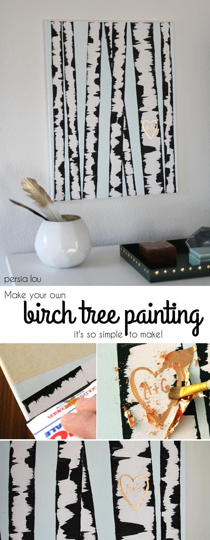 Birch tree painting dump a day for Cheap wall art ideas