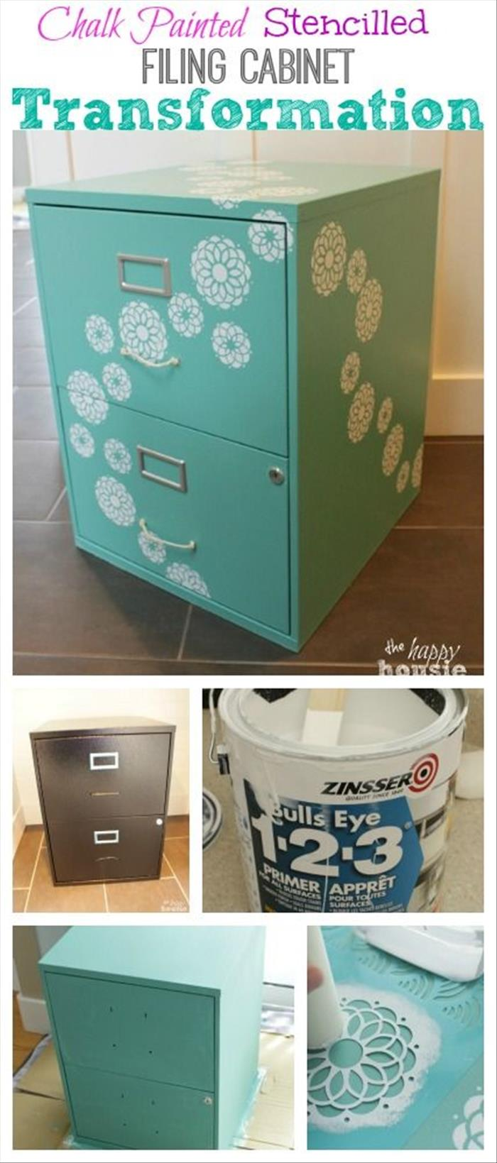 Chalk Painted Stencilled Filing Cabinet