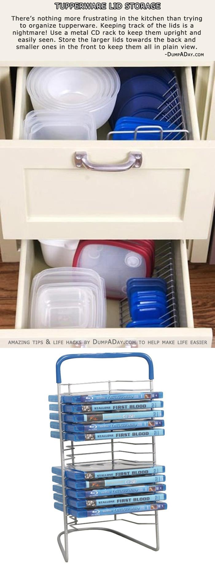 Tupperware Lid Storage- CD Rack