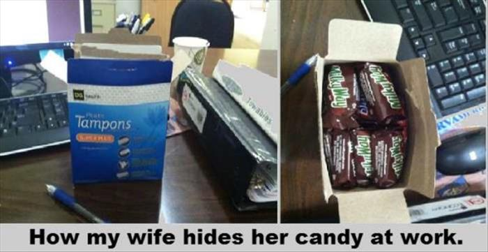 wife hides the candy
