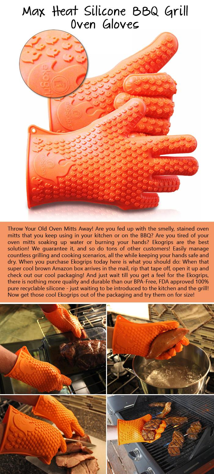 Max Heat Silicone BBQ Grill Oven Gloves
