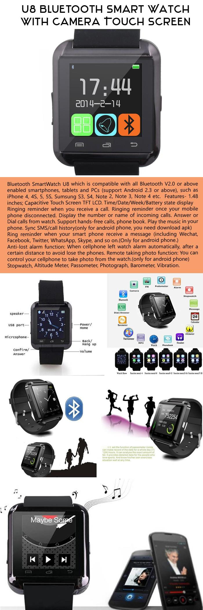 U8 Bluetooth Smart Watch with Camera Touch Screen