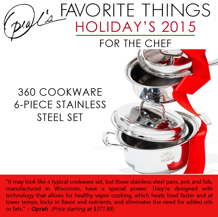 Oprah's Favorite Things - 360 Cookware 6-piece stainless steel set