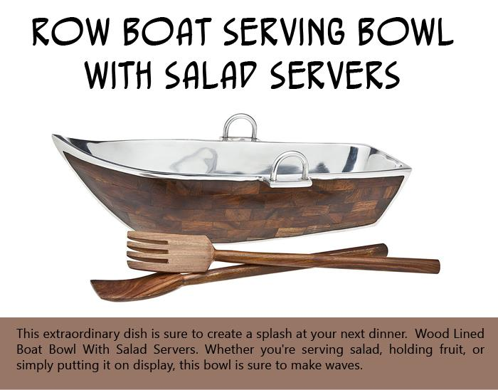Row Boat Serving Bowl with Salad Servers -