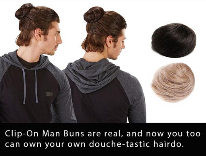 funny clip on man buns