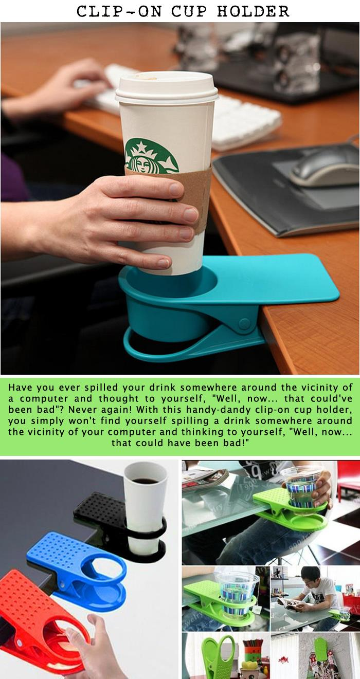 Clip-on cup holder
