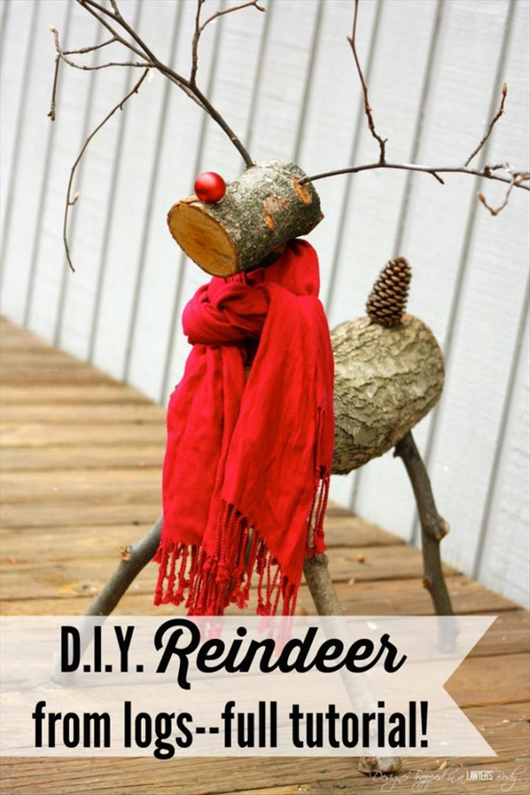 DIY Christmas Reindeer from Logs
