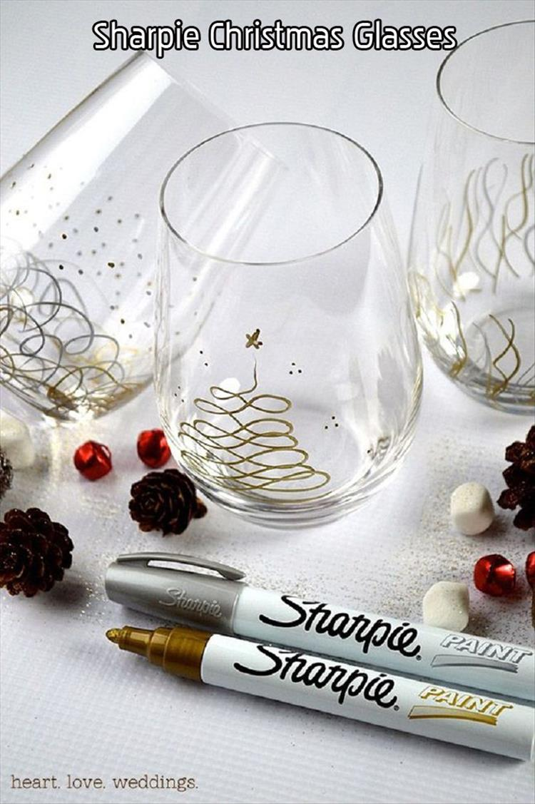 Top ten diy christmas decor ideas of the season for How to decorate wine glasses with sharpies