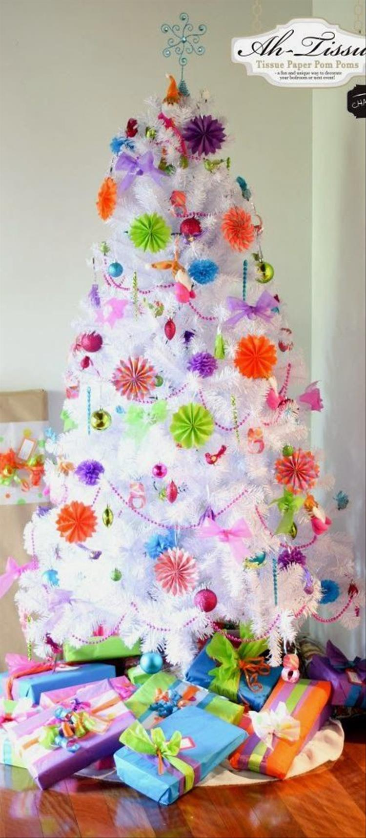 White and colorful Christmas Tree