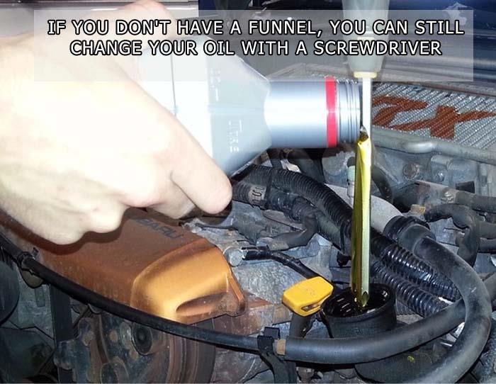 pouring oil into your car