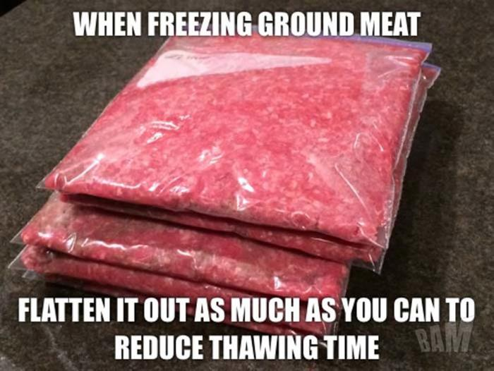 reduce thaw time for ground beef