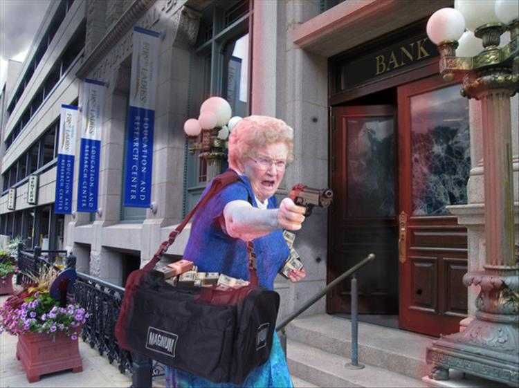 Granny With A Water Gun Gets A Photoshop Make Over Thanks