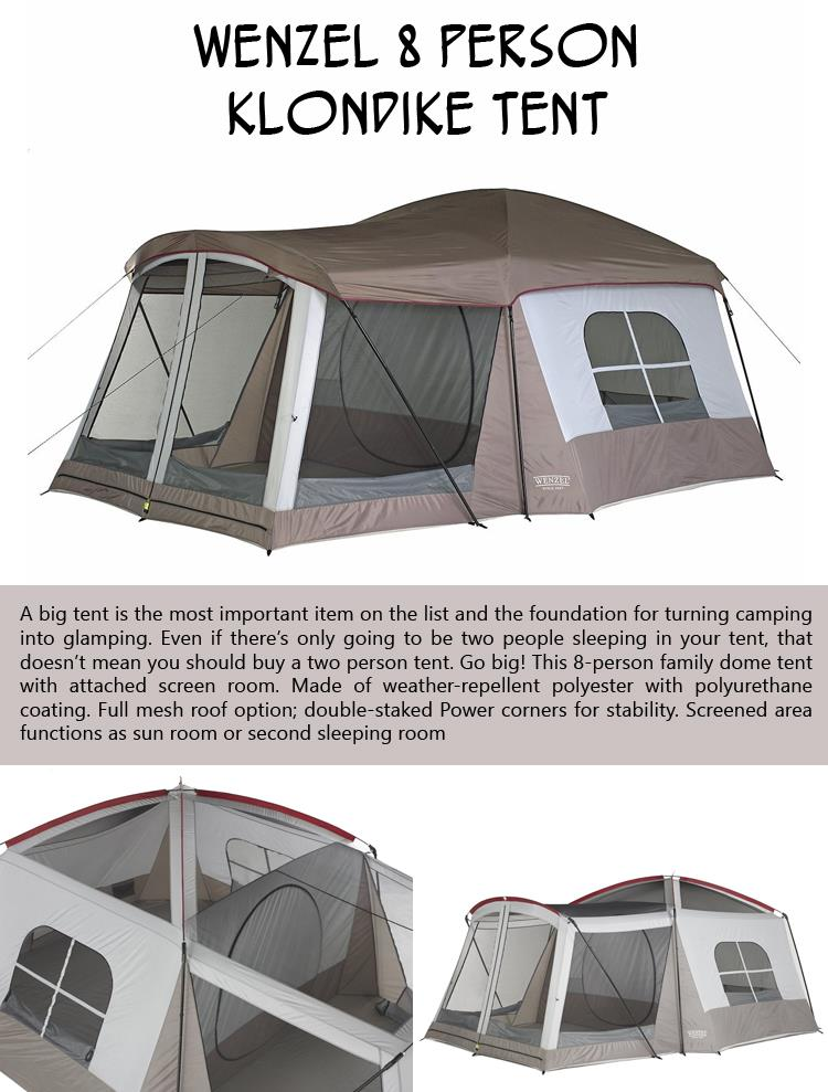 1- Wenzel 8 Person Klondike Tent  sc 1 st  Dumpaday & 10 Products That Will Turn Any Camping Trip Into A Luxurious ...