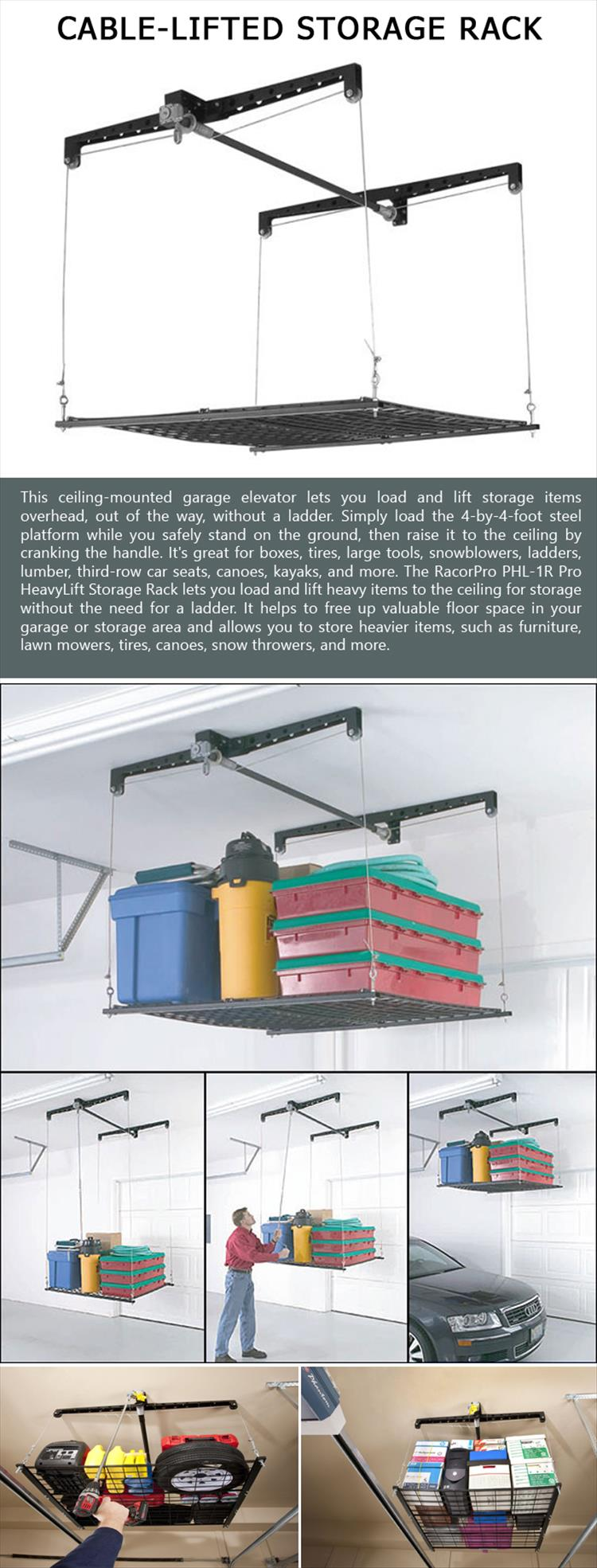 Cable-Lifted Storage Rack