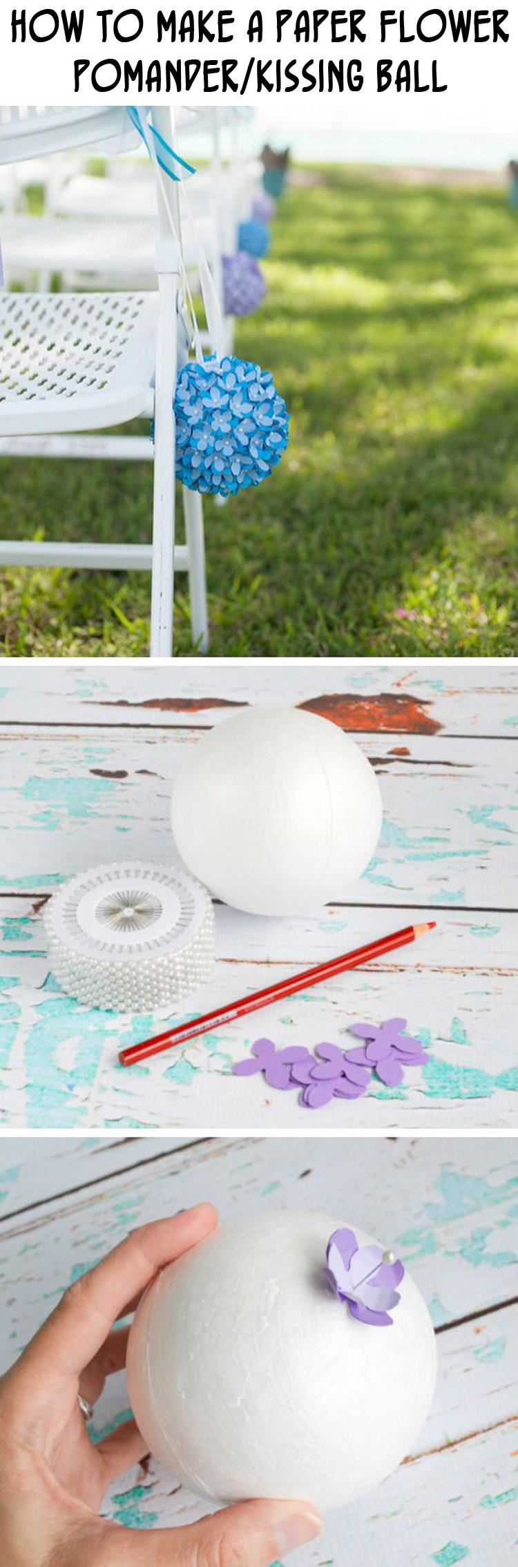 How to Make a Paper Flower Pomander Kissing Ball