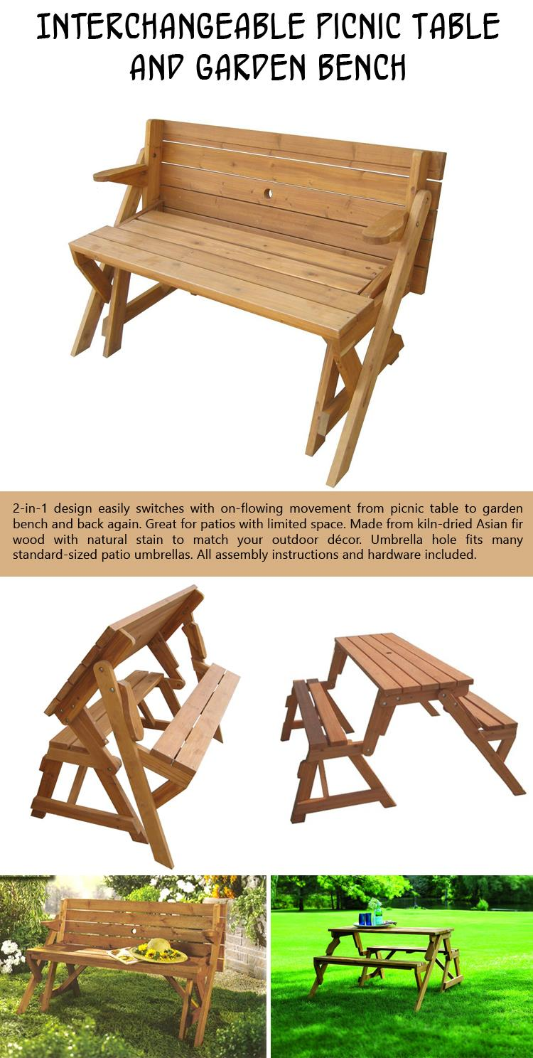 Interchangeable Picnic Table and Garden Bench