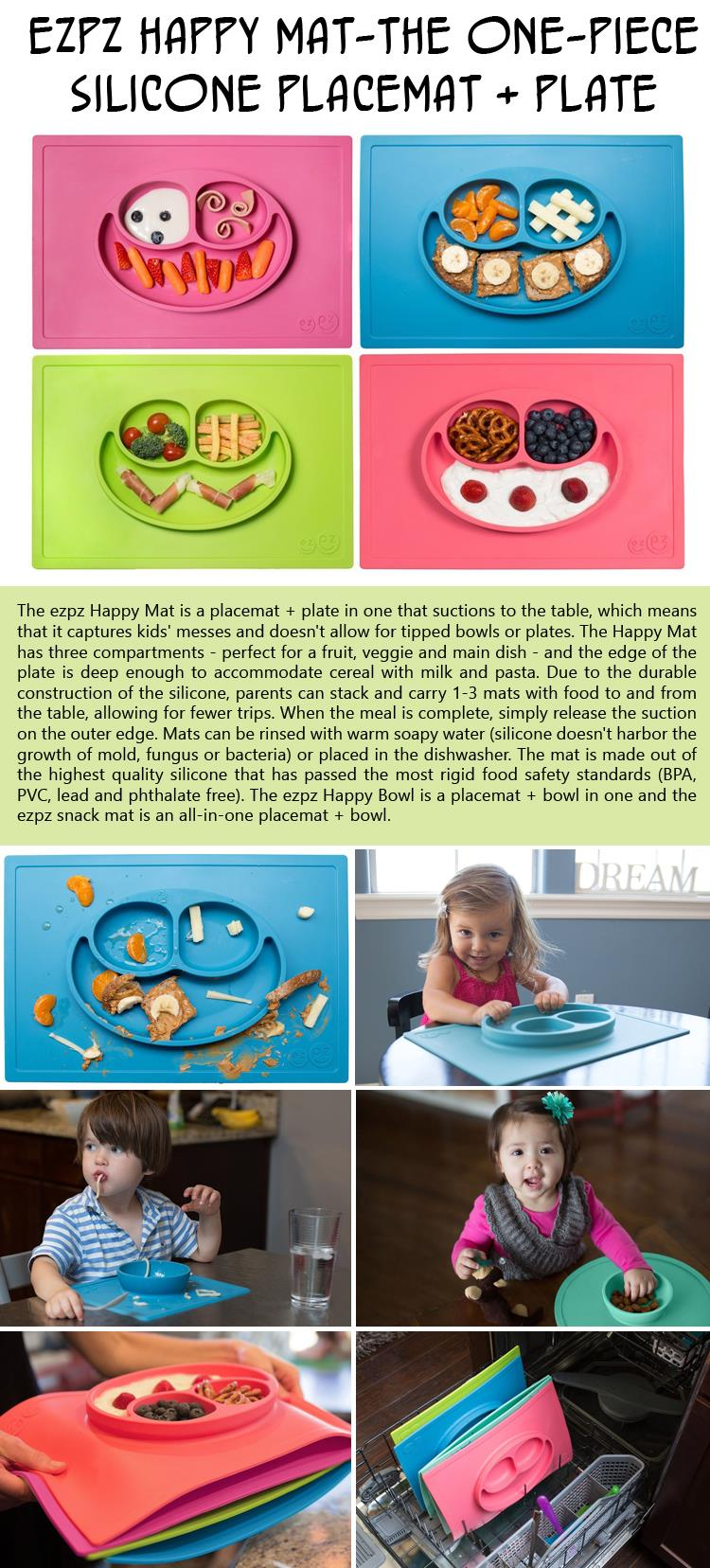 ezpz Happy Mat-The One-piece silicone placemat and plate