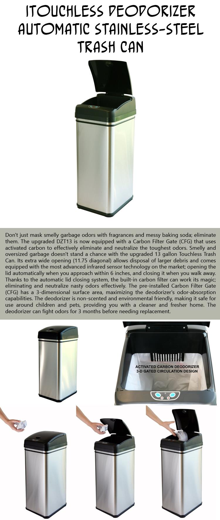 iTouchless Deodorizer Automatic Stainless-Steel Trash Can