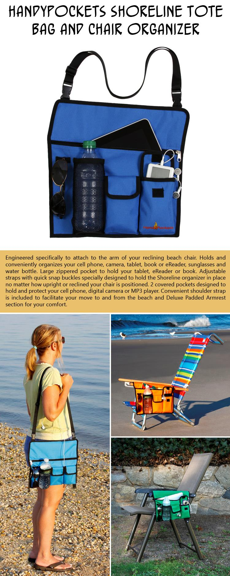 HandyPockets Shoreline Tote Bag and Chair Organizer