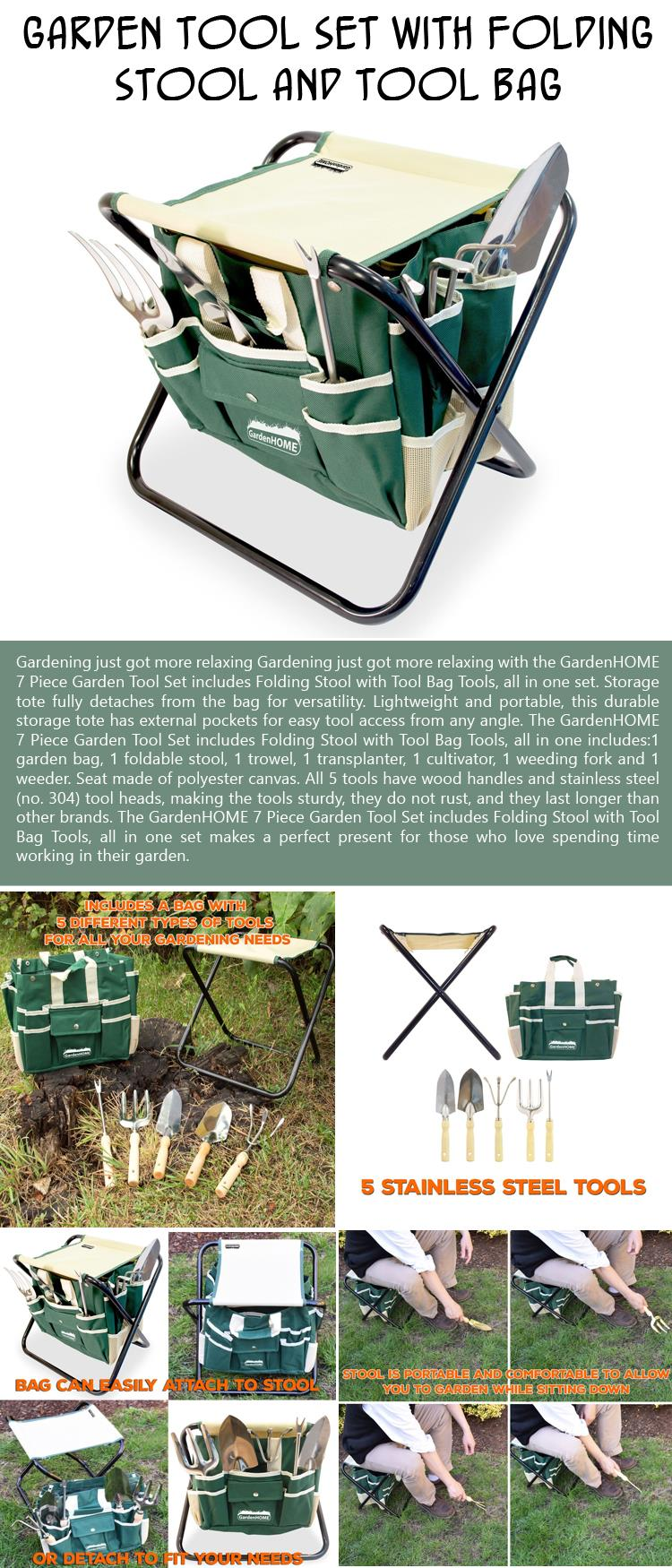 Garden Tool Set with Folding Stool and Tool Bag