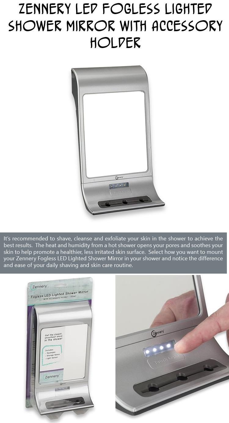 Zennery LED Fogless Lighted Shower Mirror With Accessory Holder