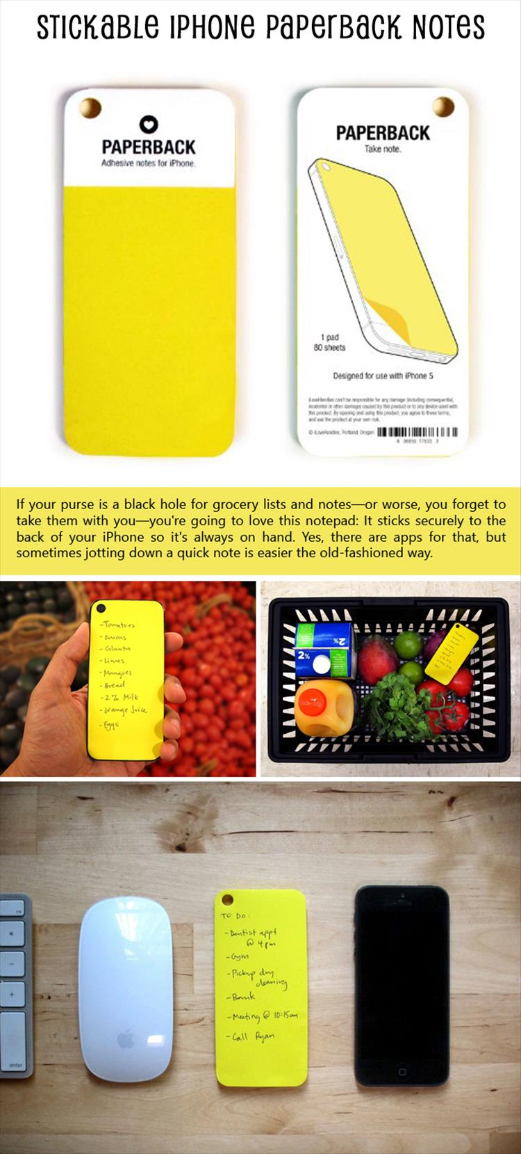 Stickable iPhone Paperback Notes