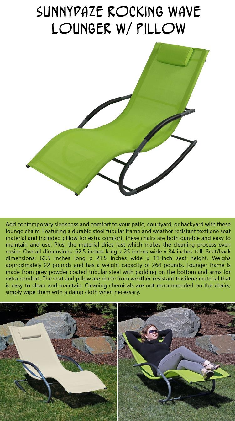 Sunnydaze Rocking Wave Lounger with Pillow