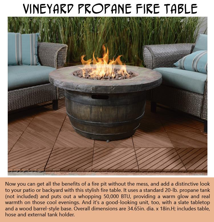 Vineyard Propane Fire Table