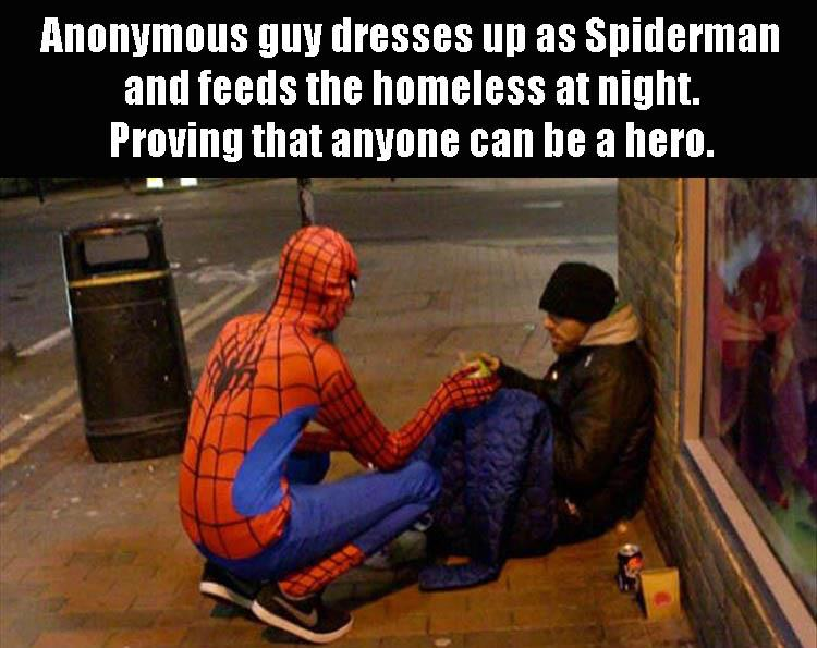 spider man helping people