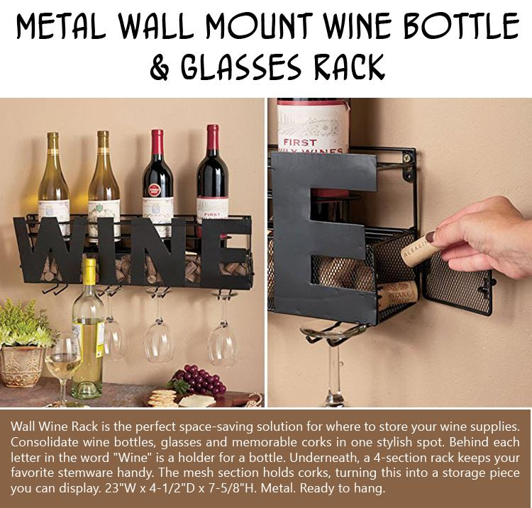 Metal Wall Mount Wine Bottle & Glasses Rack