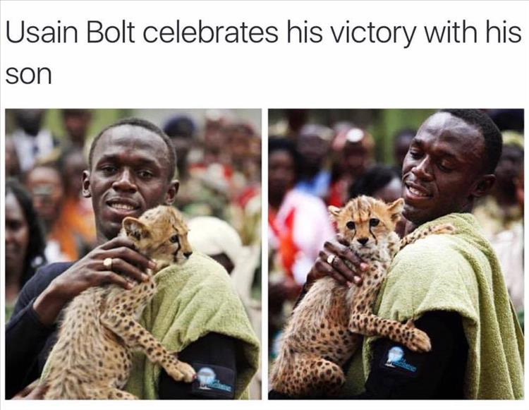 Usain bolt and his son