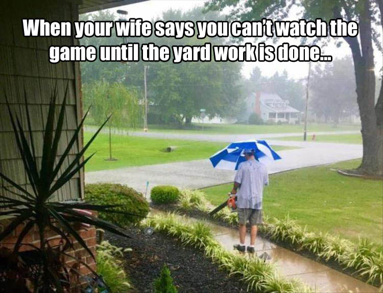 When your wife says you can't watch the game until the yard work is done