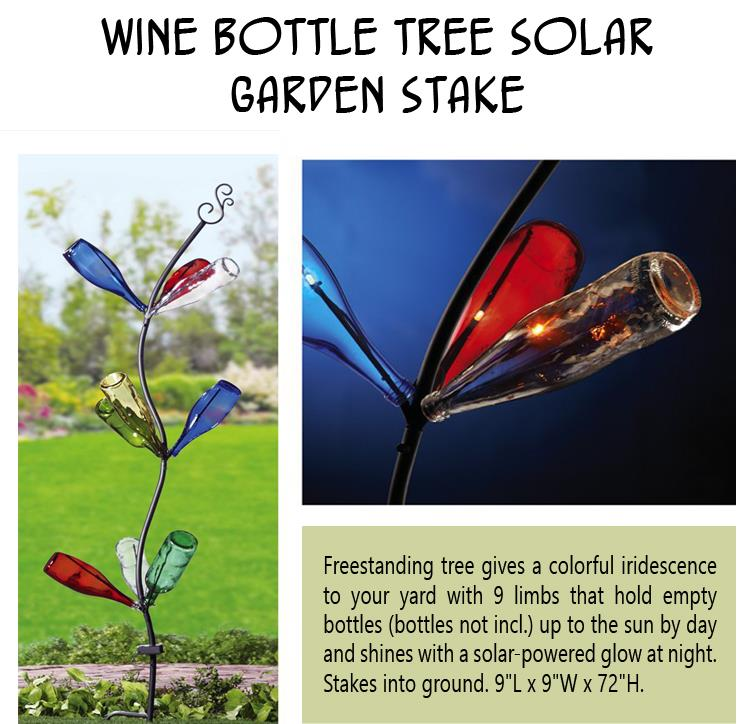 Wine Bottle Tree Solar Garden Stake